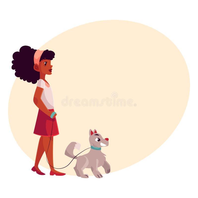 Enegreça, menina afro-americano que anda com o cão na trela fraca ilustração royalty free