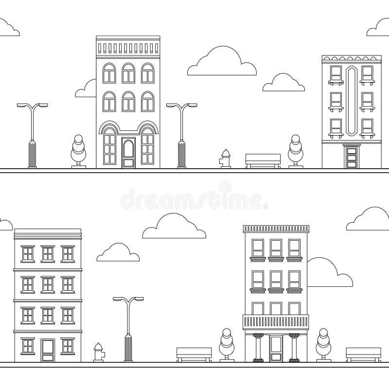 Enegreça no teste padrão sem emenda da arquitetura da cidade branca da rua dos desenhos animados ilustração royalty free