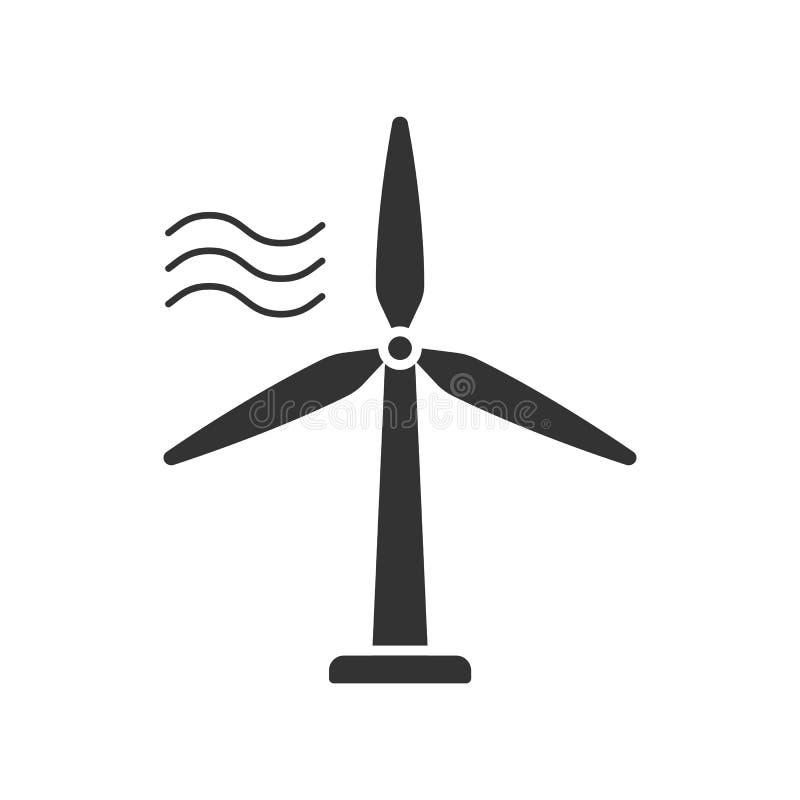Enegreça o ícone isolado da turbina das energias eólicas no fundo branco Silhueta da estação das energias eólicas ilustração do vetor