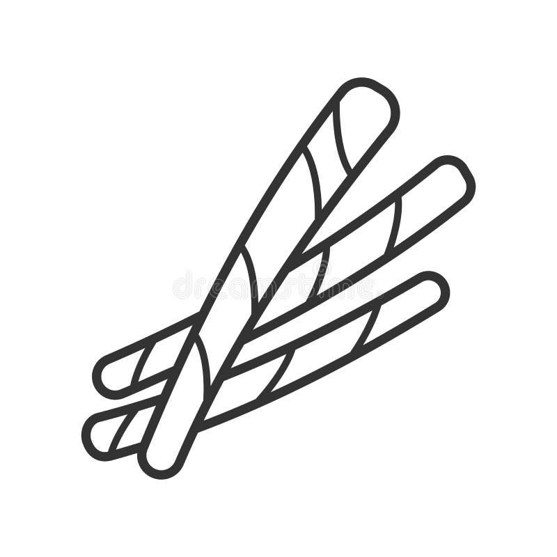Enegreça o ícone isolado do esboço de varas de pão no fundo branco Linha ícone de vara de pão ilustração royalty free