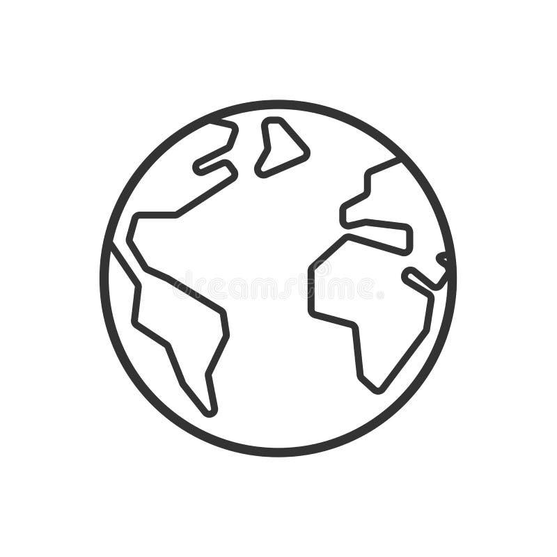 Enegreça o ícone isolado do esboço do globo no fundo branco Linha ícone de terra ilustração royalty free