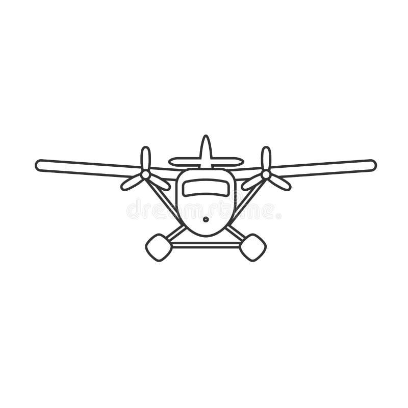 Enegreça o ícone isolado do esboço do hidroavião no fundo branco Linha ícone de hidroavião ilustração do vetor