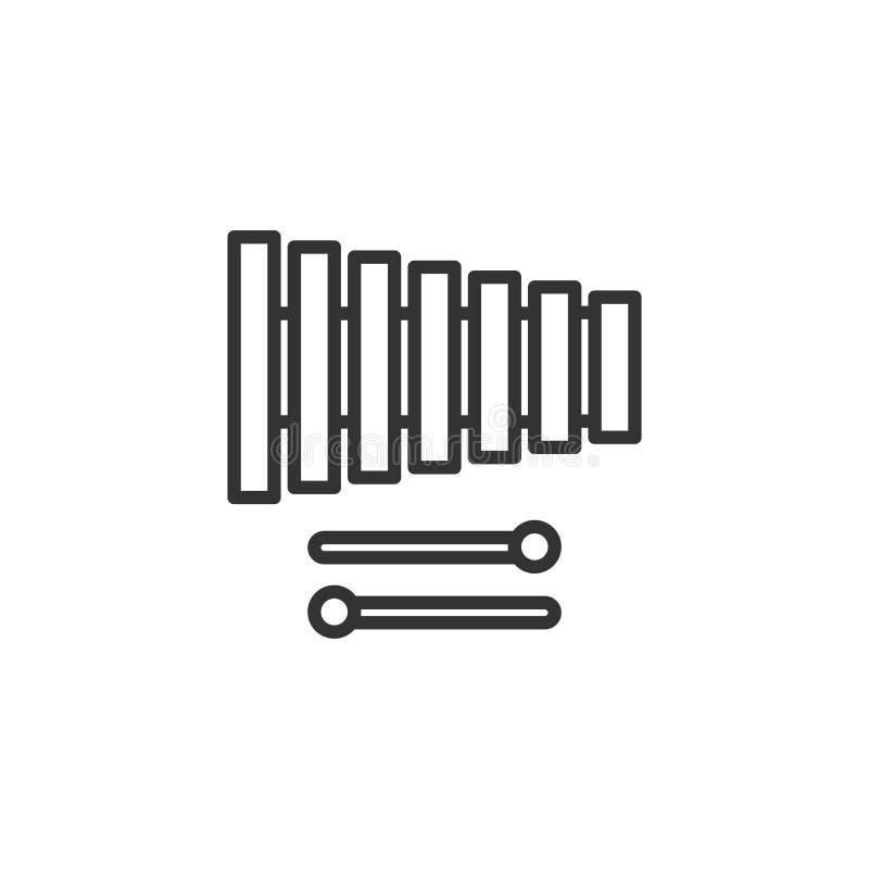 Enegreça o ícone isolado do esboço do xilofone no fundo branco Linha ícone de instrumento musical da percussão ilustração stock
