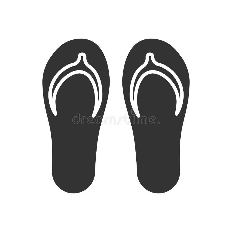 Enegreça o ícone isolado do flip-flop no fundo branco Ícone do falhanço de aleta ilustração do vetor