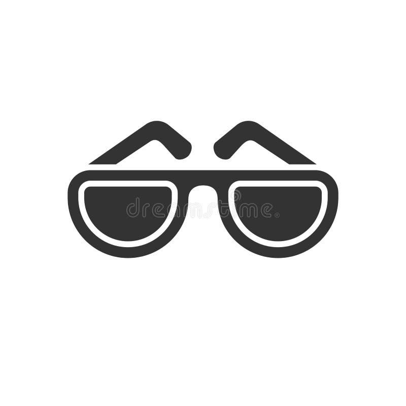 Enegreça o ícone isolado dos óculos de sol no fundo branco Silhueta dos vidros ilustração royalty free