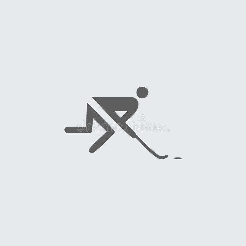 Enegreça o ícone liso do jogador de hóquei ilustração royalty free