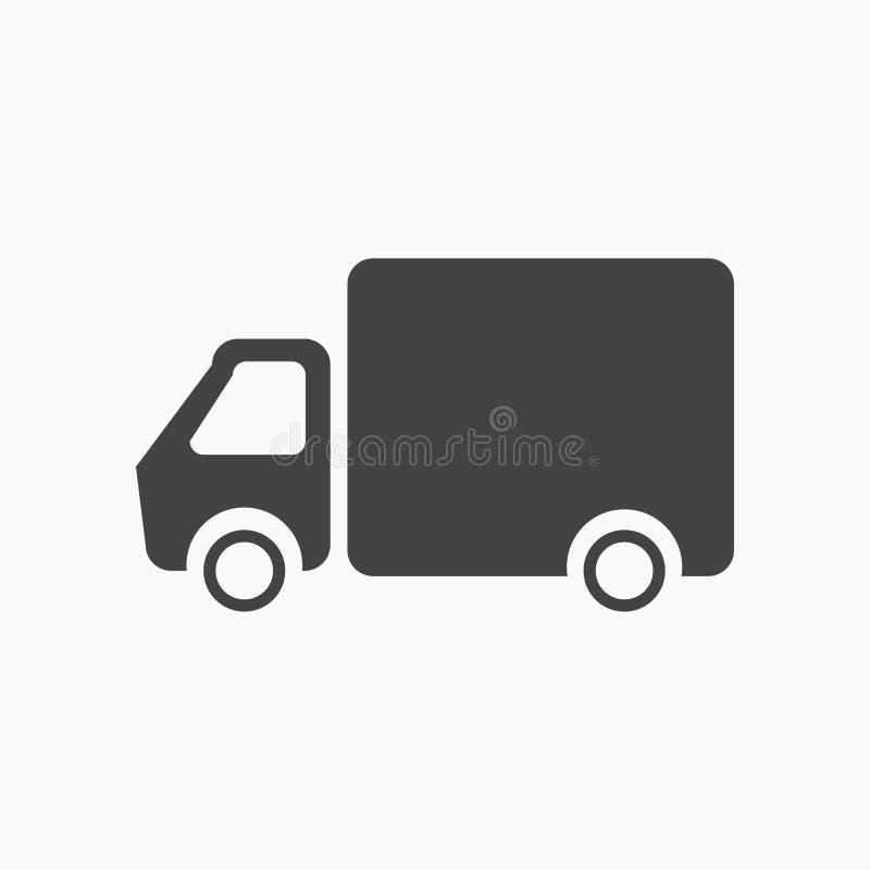 Enegreça o caminhão liso, ícone do veículo ilustração stock