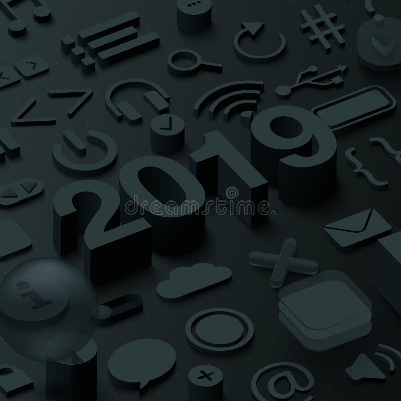Enegreça o fundo 2019 3d com símbolos da Web do ui ilustração do vetor