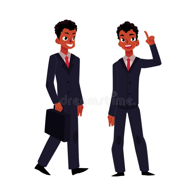 Enegreça, o homem de negócios afro-americano, gerente no terno de negócio que guarda a pasta ilustração royalty free