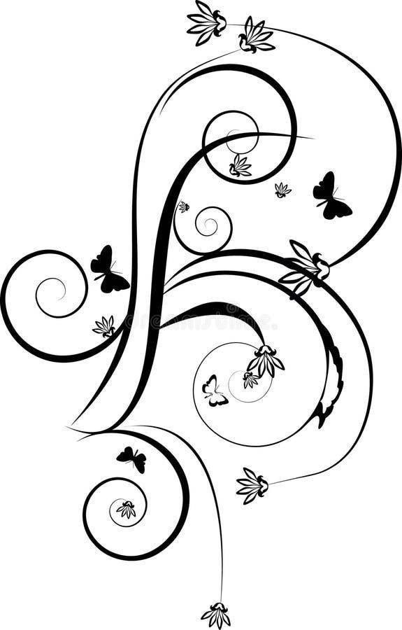 Download Enegreça O Ornamento Decorativo Com Borboleta Ilustração do Vetor - Ilustração de sumário, ornament: 10056717