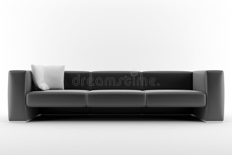 Enegreça o sofá isolado no fundo branco ilustração stock