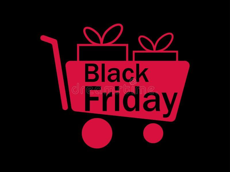 Enegreça sexta-feira Trole e caixa de presente Carro de compra Descontos e vendas grandes Vetor ilustração royalty free
