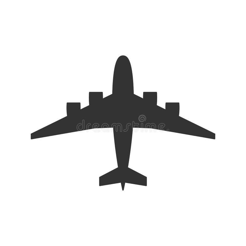 Enegreça a silhueta isolada do avião no fundo branco Vista de cima do avião ilustração royalty free
