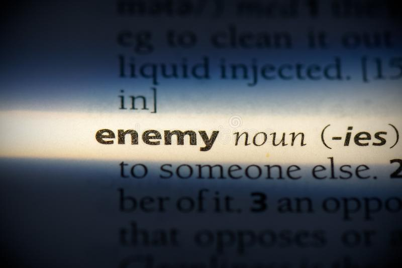 Enemy. Word in a dictionary.  concept, definition royalty free stock images