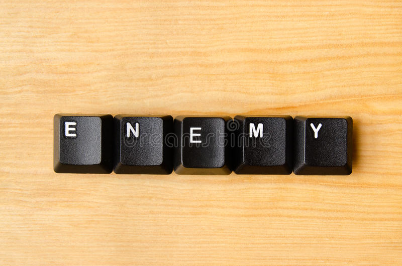 Enemy word. With keyboard buttons royalty free stock photo