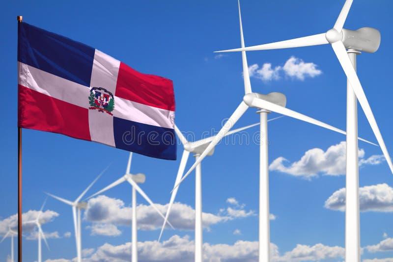 Energía alternativa de la República Dominicana, concepto industrial de la energía eólica con los molinoes de viento y ejemplo ind libre illustration