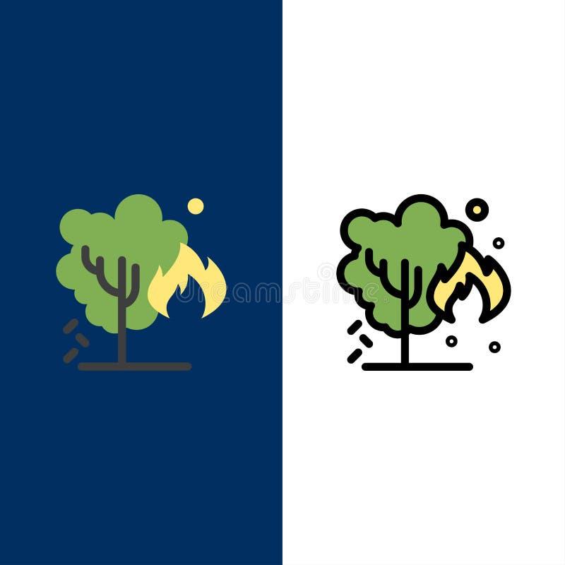 Energía, ambiente, verde, iconos de la contaminación El plano y la línea icono llenado fijaron el fondo azul del vector stock de ilustración