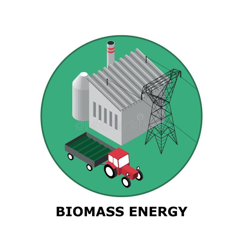 Energía de la biomasa, fuentes de energía renovable - parte 5 stock de ilustración