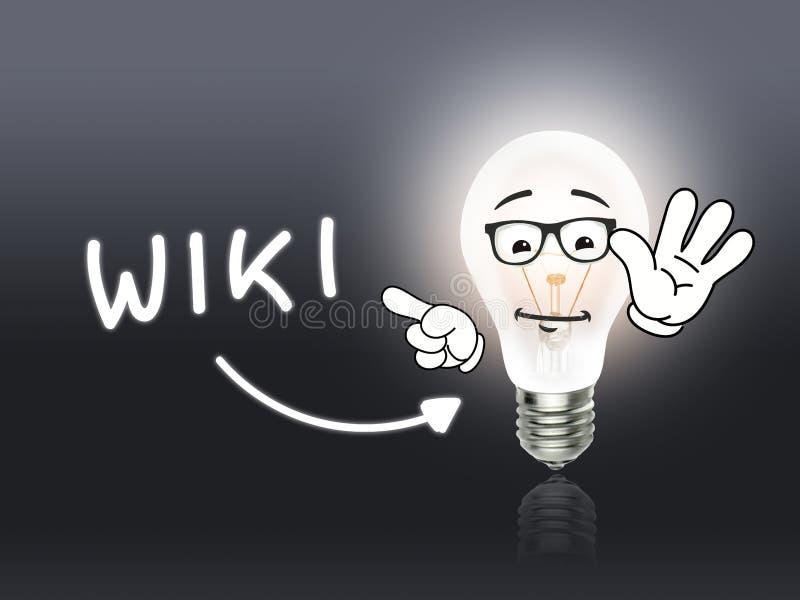 Energía de la lámpara del bulbo de Wiki gris clara fotos de archivo libres de regalías