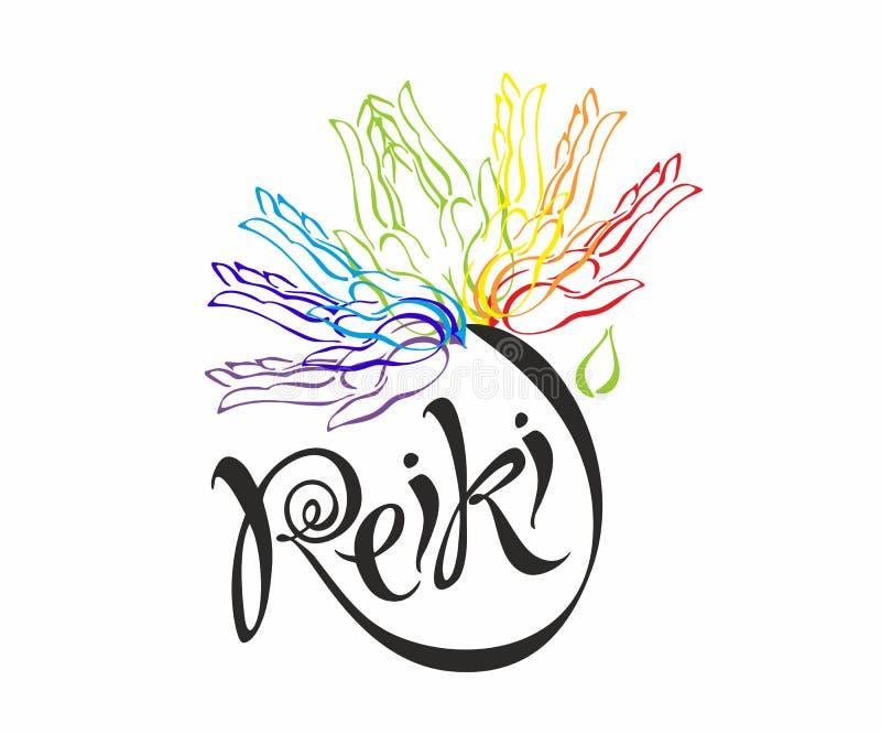 Energía de Reiki logotipo Energía curativa Flor del arco iris de las palmas del hombre Medicina alternativa espiritual stock de ilustración