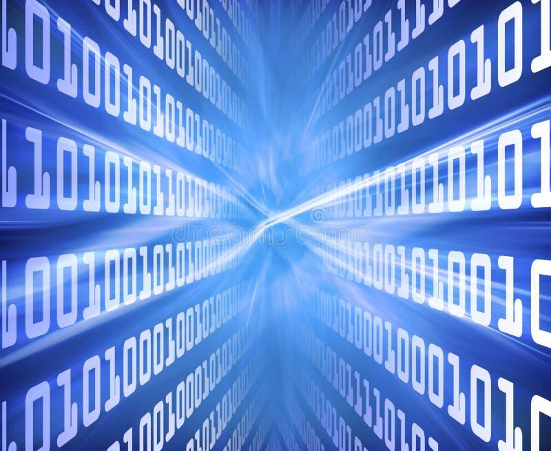 Energía del azul del código binario stock de ilustración