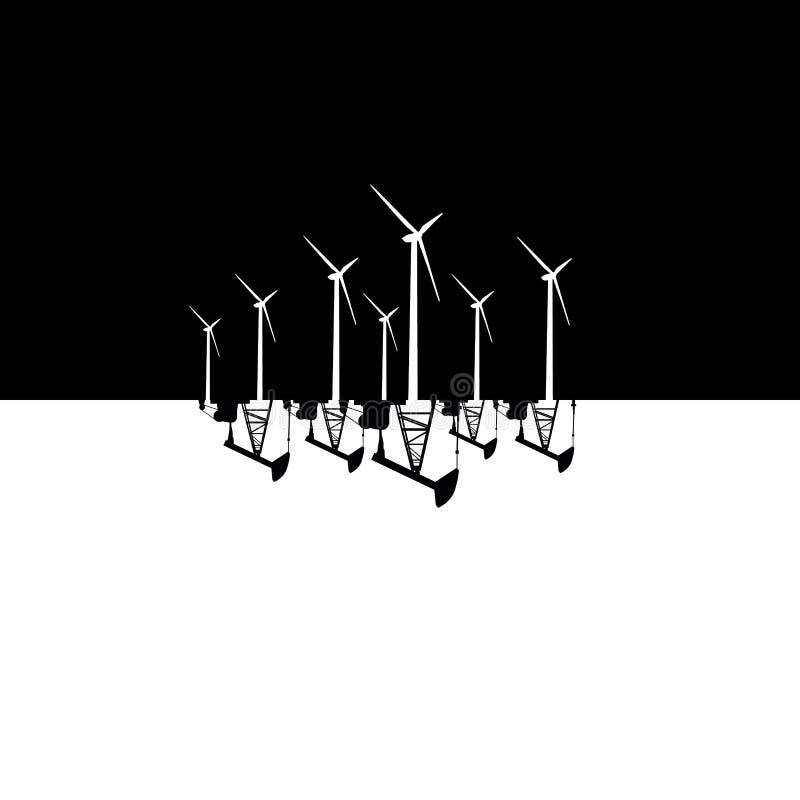 Energía eólica contra el ejemplo de energía combustible fósil del vector del concepto Bombas del parque eólico y de aceite stock de ilustración