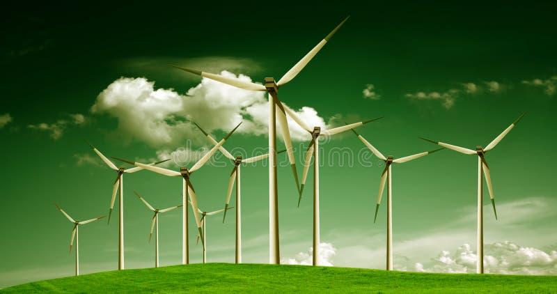Energía eólica, ecología imagen de archivo