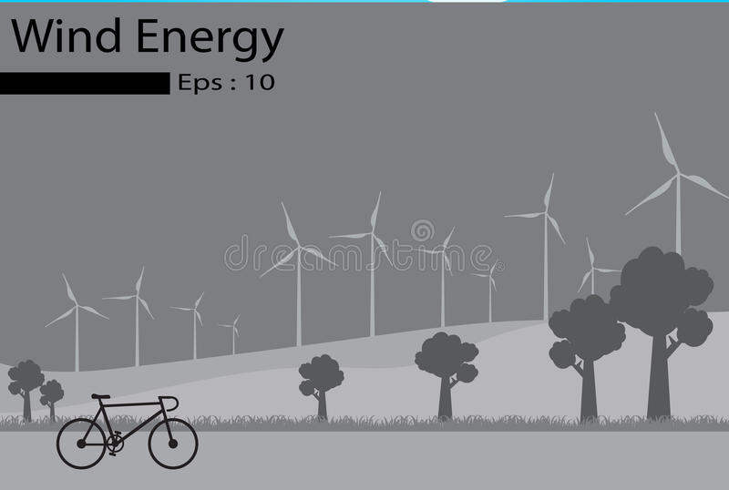 Energía eólica, generadores de viento libre illustration