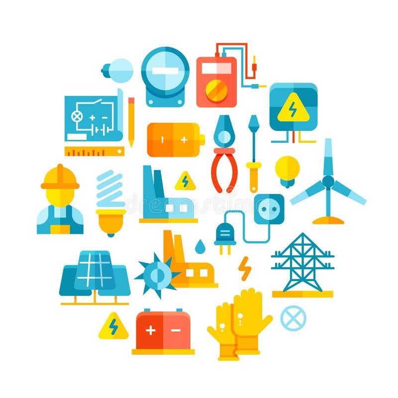Energía eléctrica, líneas eléctricas, concepto del vector de la electricidad con los iconos planos stock de ilustración