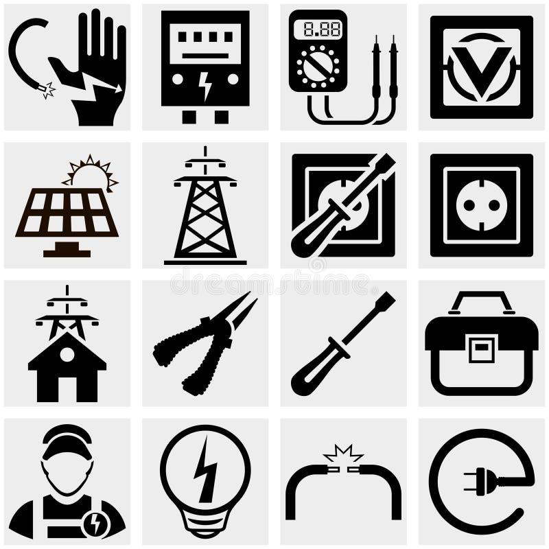 Energía, electricidad, iconos del vector del poder fijados. ilustración del vector