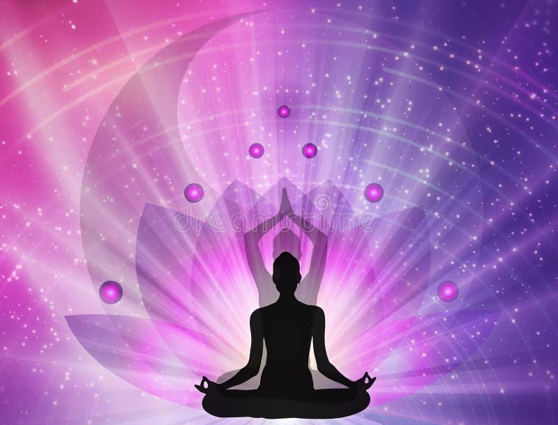 Energía espiritual, loto, símbolo yin yang, equilibrio, universo stock de ilustración