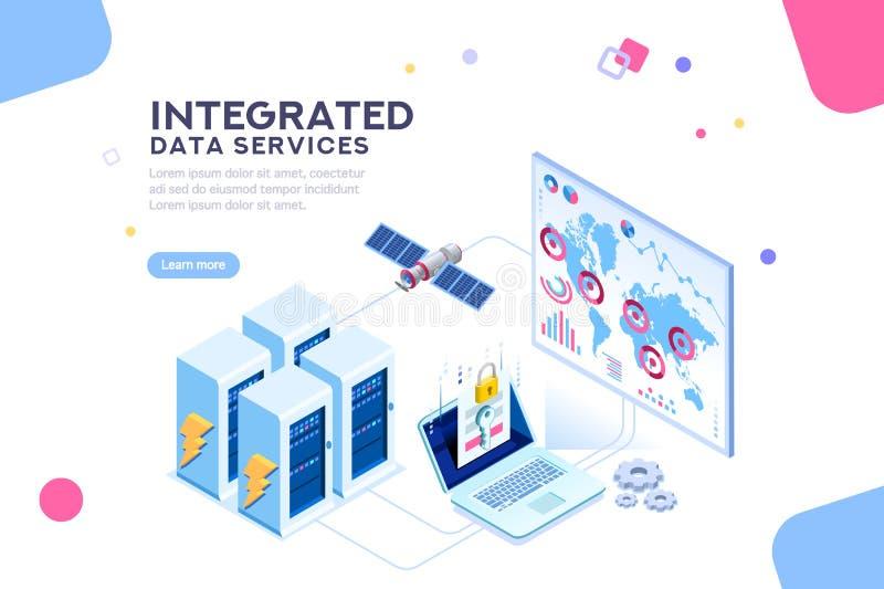 Energía global del centro de datos de la bandera isométrica futura stock de ilustración