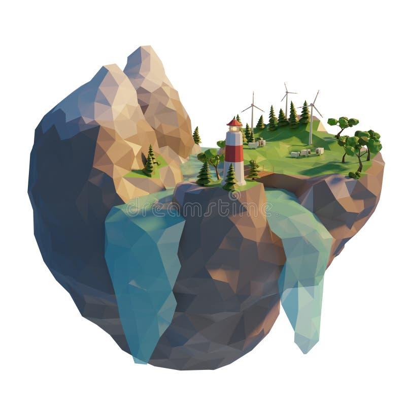 Energía limpia de la generación en el estilo polivinílico bajo 3d Turbina de viento flotante de la isla Montaña con el río y los  ilustración del vector