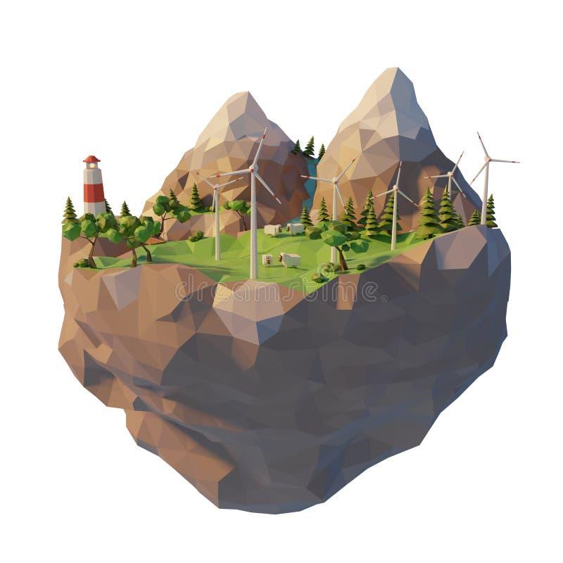 Energía limpia renovable de las fuentes del concepto de la ecología en el estilo polivinílico bajo 3d Turbina de viento flotante  stock de ilustración