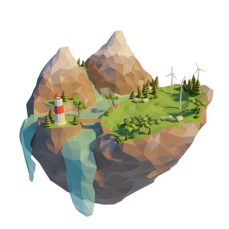 Energía limpia renovable del concepto de la ecología en el estilo polivinílico bajo 3d Turbina de viento flotante de la isla Mont ilustración del vector