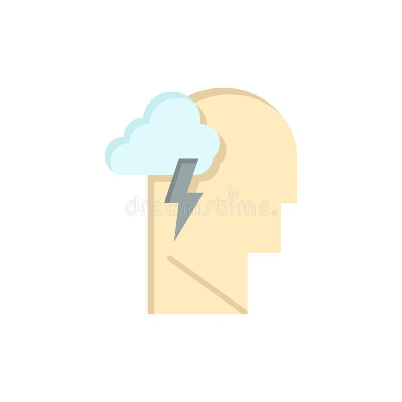 Energía, mental, mente, icono plano del color del poder Plantilla de la bandera del icono del vector libre illustration