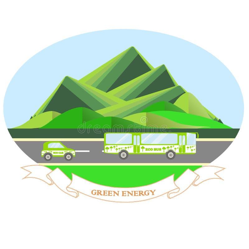 Energía oval del verde del ejemplo con el paisaje de la montaña, camino gris, autobús del eco, coche del eco, cielo azul Diseño p libre illustration