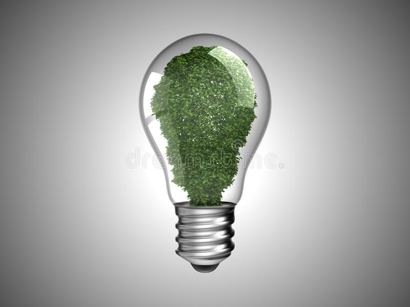 Energía renovable. Bombilla con la planta verde stock de ilustración