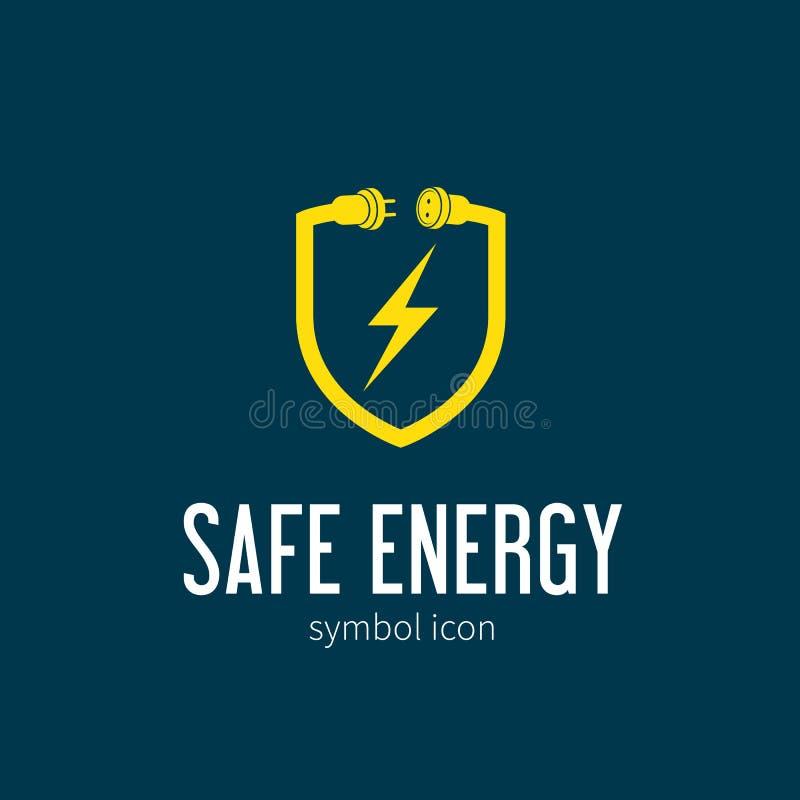 Energía segura con símbolo del concepto del vector de la ventisca ilustración del vector