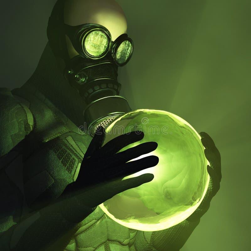 Energía tóxica en manos humanas stock de ilustración