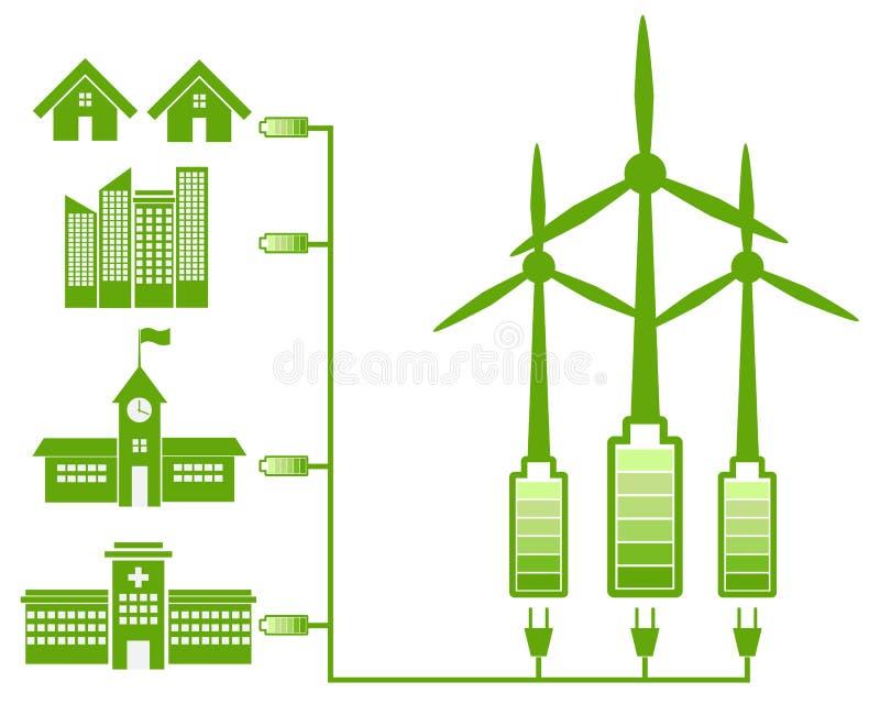 Energía verde del molino de viento e icono verde libre illustration