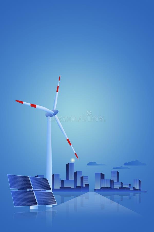 Energía verde - el panel solar, turbina de viento y paisaje urbano libre illustration
