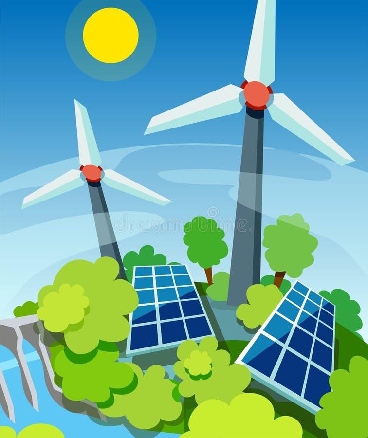Energía verde Los paneles solares, generadores de viento y estación hidroeléctrica Tecnología cómoda de Eco ilustración del vector