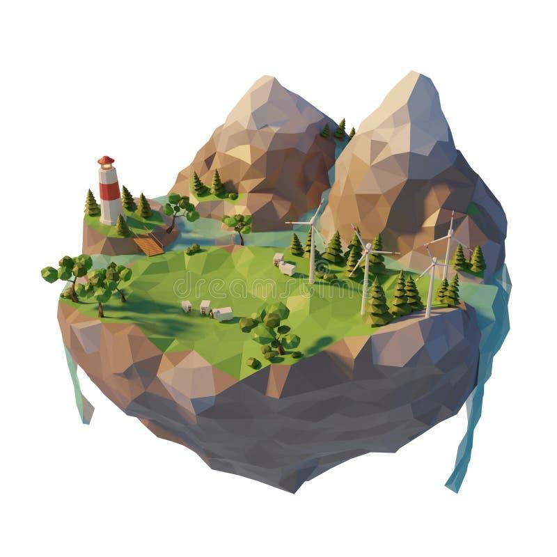 Energía verde renovable del concepto de la ecología en el estilo polivinílico bajo 3d Turbina de viento flotante de la isla Monta libre illustration