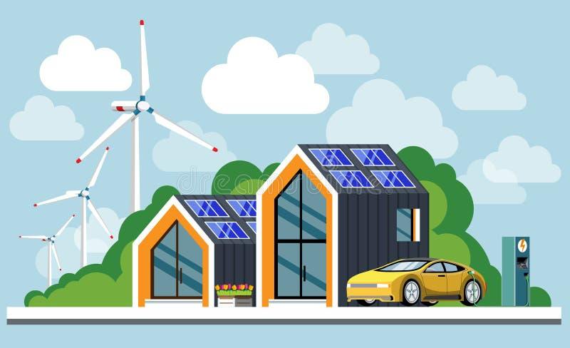 Energía verde una casa moderna amistosa del eco stock de ilustración