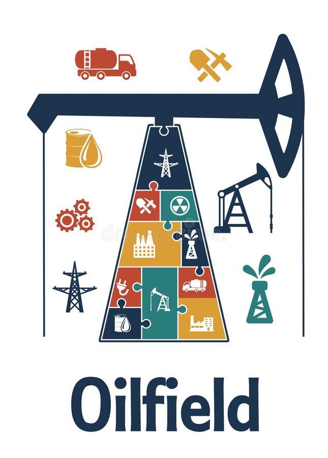 Energía y diseño plano del infographics de la industria de petróleo libre illustration