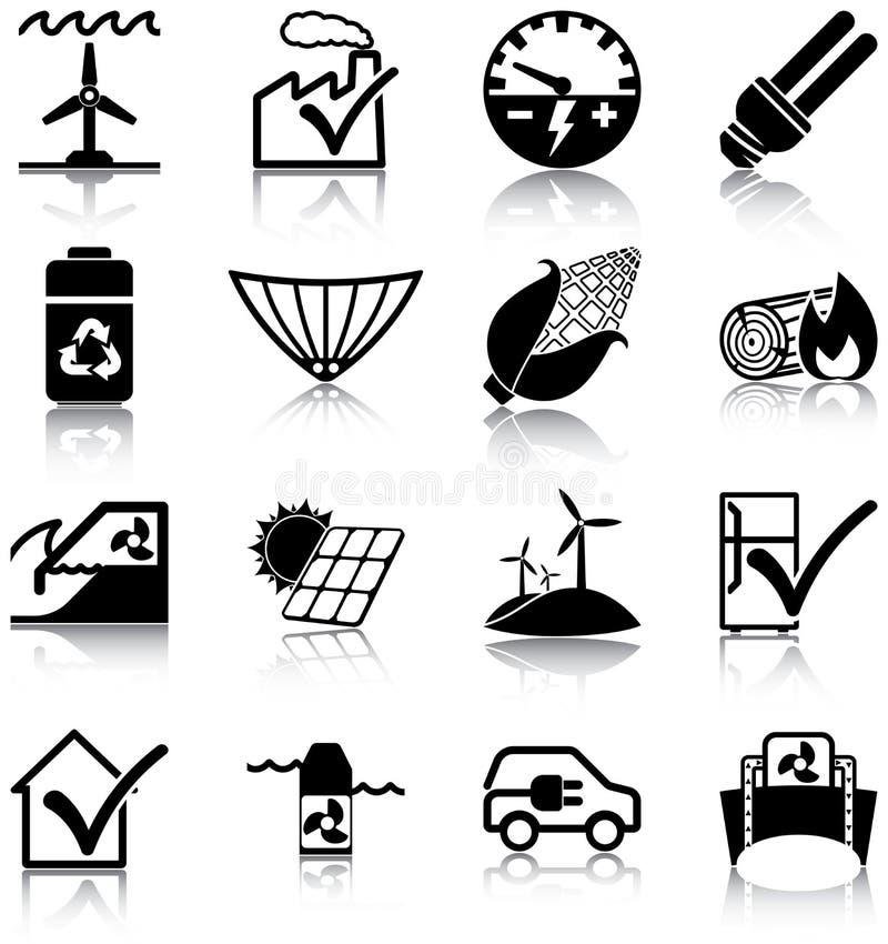 Energías renovables y rendimiento energético stock de ilustración