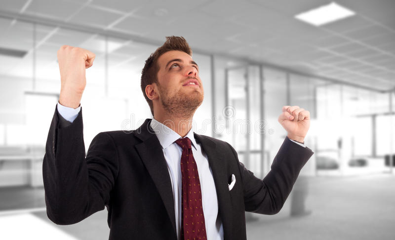 Download Energetic Businessman With Arms Raised. Stock Image - Image: 18240051