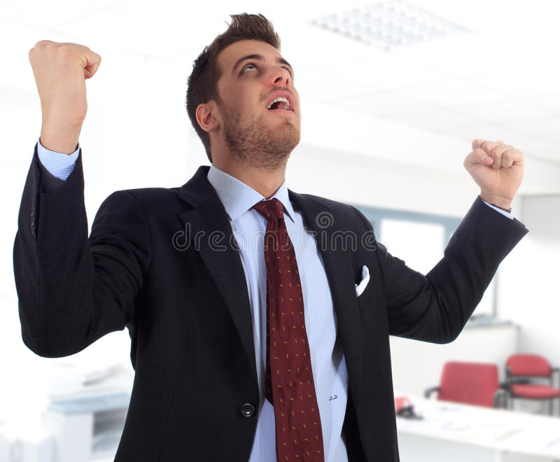 Download Energetic Businessman With Arms Raised Royalty Free Stock Images - Image: 18329809