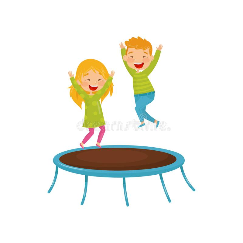 Energetic children jumping on trampoline. Joyful brother and sister having fun together. Flat vector design. Two energetic children jumping on trampoline. Happy royalty free illustration